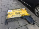 A Council sign that should have removed weeks ago is causing an obstruction